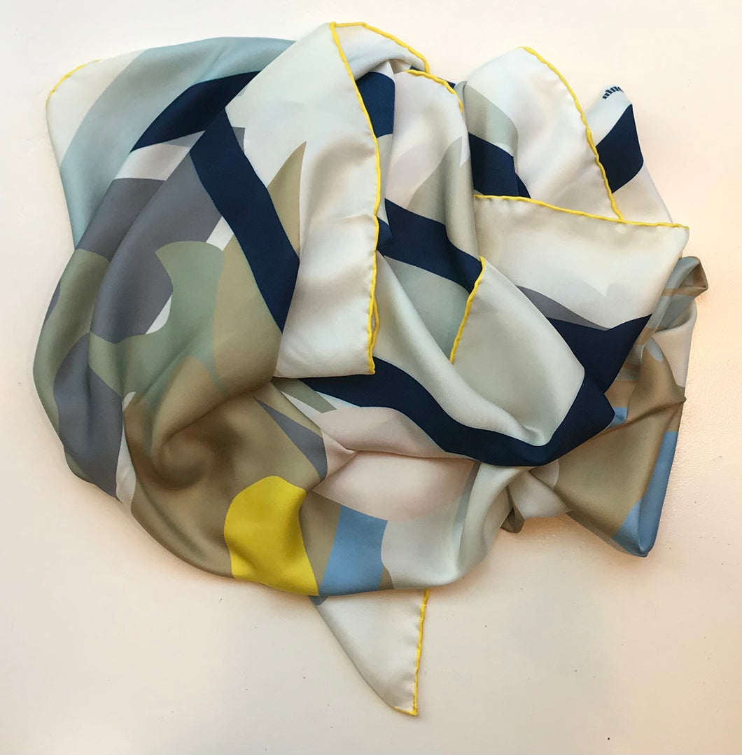 Silk twill scarf butterfly deconstructed soft color