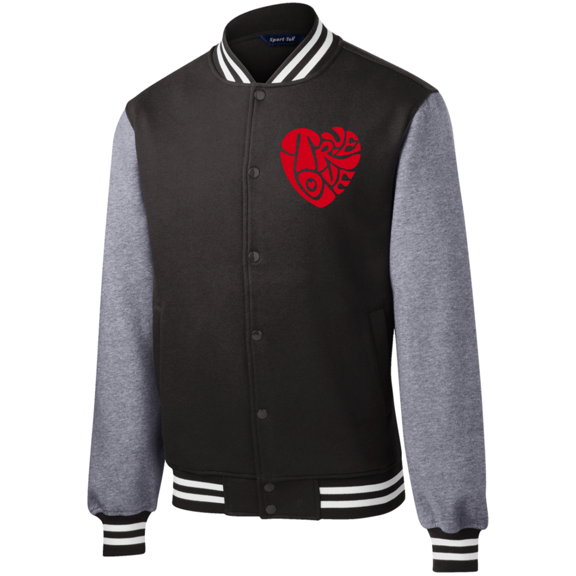 MENS TRUE LOVE by Wisam Embroidered Fleece Letterman Jacket