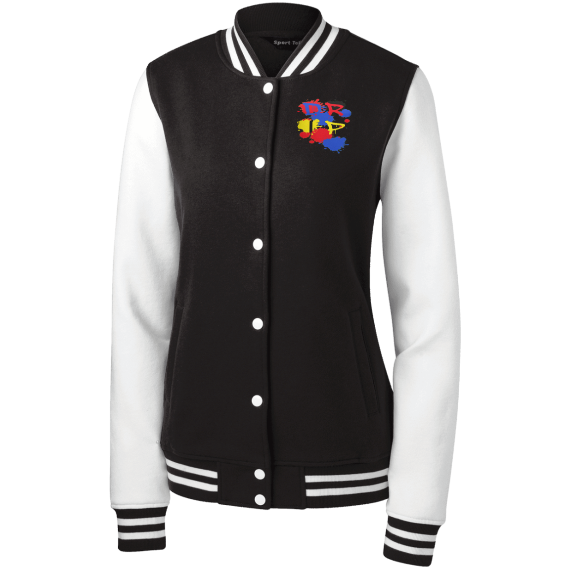 DRIP by Wisam women's Embroidered Fleece Letterman Jacket