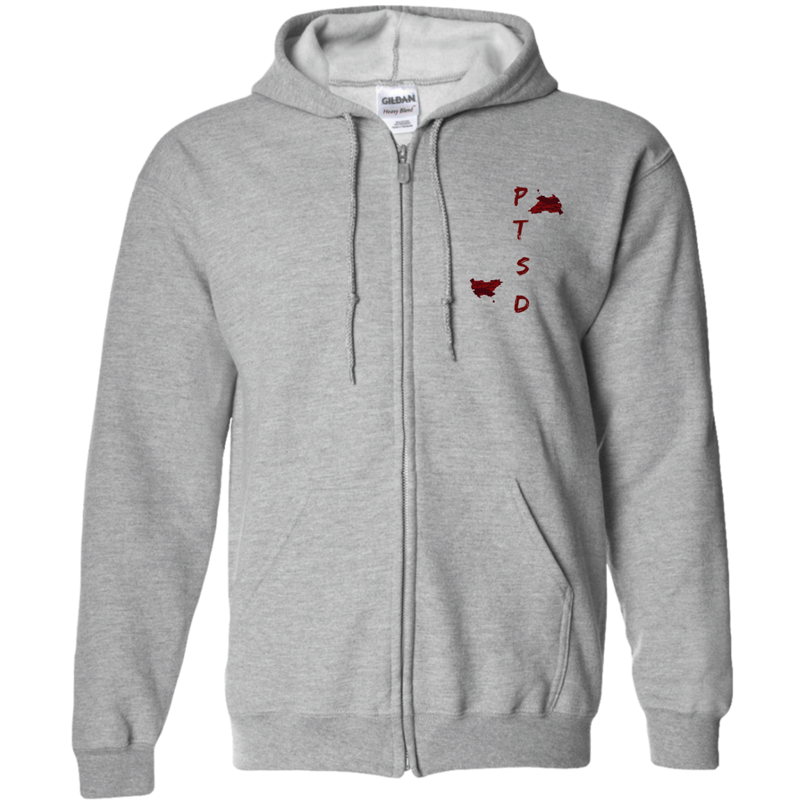 PTSD by Wisam UNISEX EMBROIDERED Zip Up Hoodie