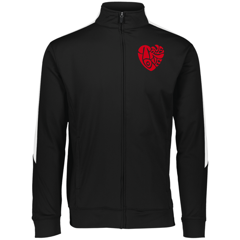 MENS TRUE LOVE Embroidered RED Colorblock Full Zip