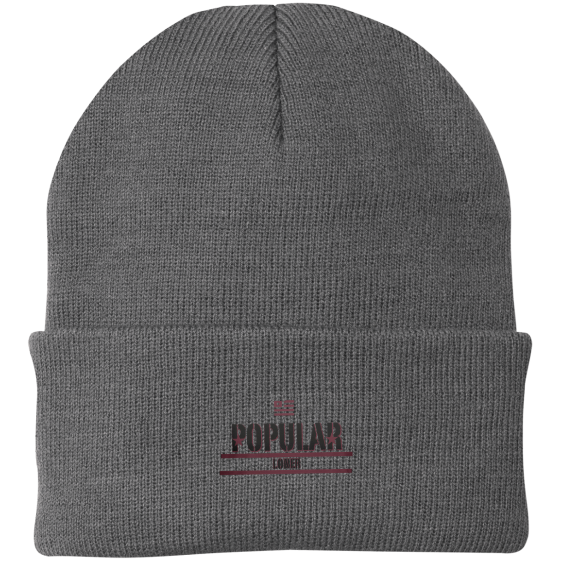 Popular Loner Black Logo Knit Cap