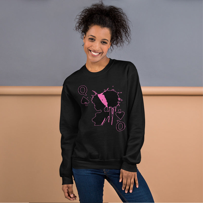 Queen of Spades Pink Unisex Adult Sweatshirt
