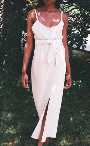 Na Nin Carolyn Raw Silk Slip Dress / Available in Cream & Black