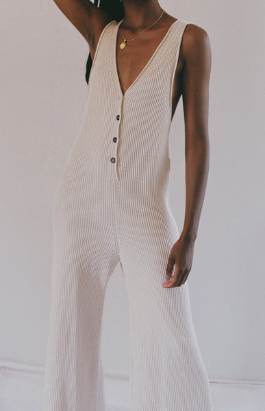 MICAELA GREG RIB JUMPSUIT / AVAILABLE IN CREAM AND SEA SALT