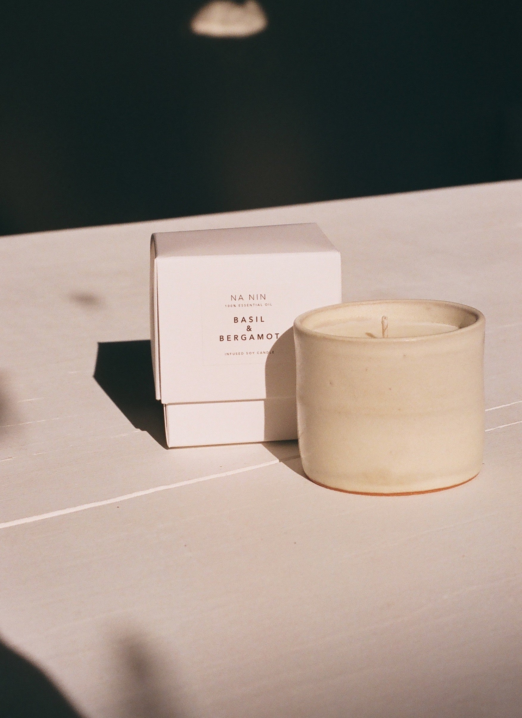Basil & Bergamot Essential Oil Soy Candle / Available in White & Terracotta Ceramic