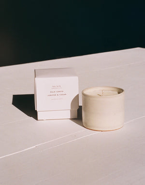 Palo Santo, Juniper, & Cedarwood Soy Candle / Available in White & Terracotta Ceramic