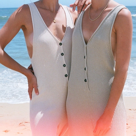 Micaela Greg Rib Jumpsuit / Available In Cream + Sea Salt