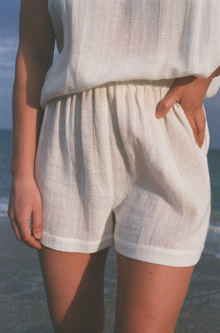 Na Nin Chloe Waffled Cotton Shorts / Available in White and Faded Black