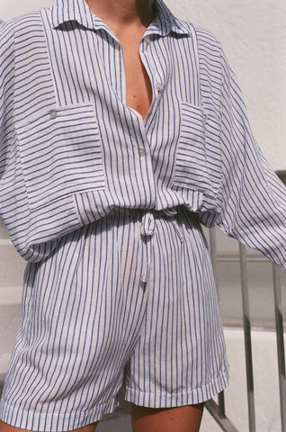 Na Nin Gwen Striped Fitted Button Up