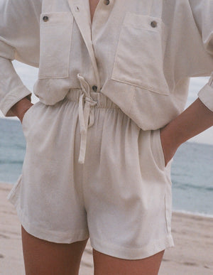 Na Nin Samantha Raw Silk Drawstring Shorts / Available In Cream & Black