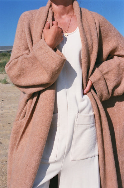 Atelier Delphine Extra Long Alpaca Haori Coat in Nude Rose ** Shipping Late September