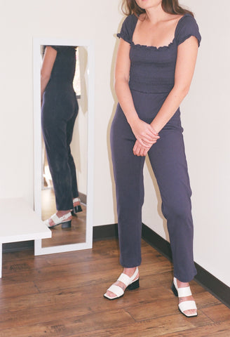 Lisa Says Gah Sophie Cap Sleeve Jumpsuit / Available in Beige and Navy