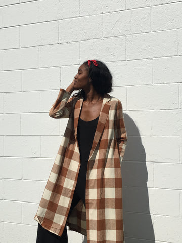 Ali Golden Raw Silk Chestnut Plaid Notch Jacket
