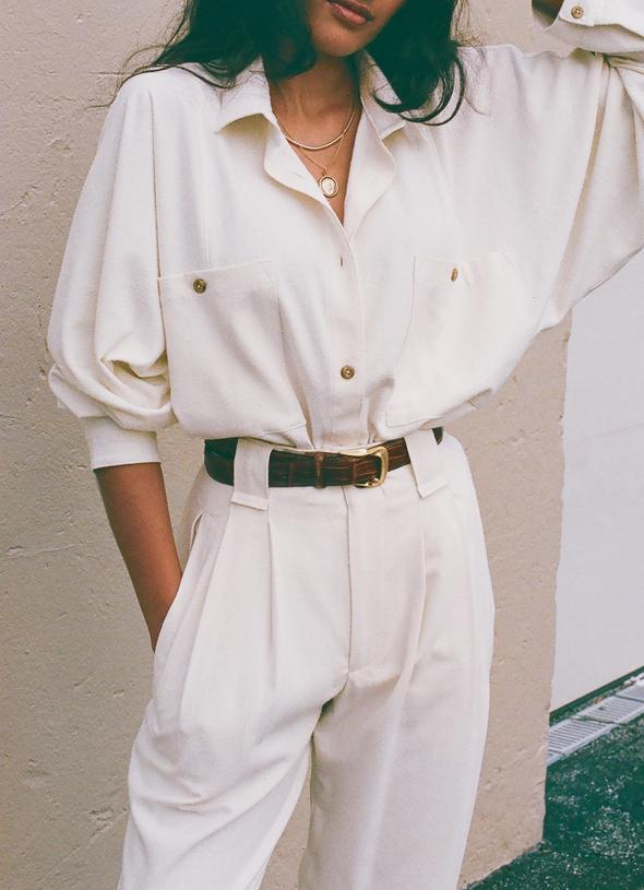 Na Nin Gwen Relaxed Raw Silk Button Up / Available in Cream & Black