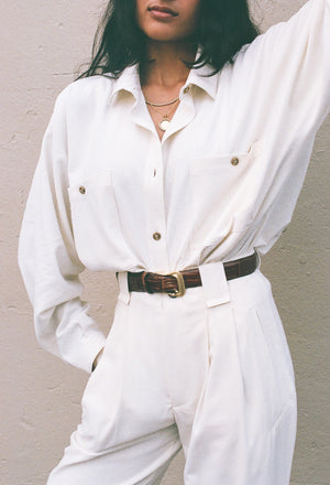 Na Nin Raw Silk Gwen Button Up / Available in Cream and Sand