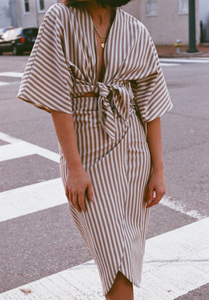 Na Nin Striped Cotton Bobbie Tie Top | Na Nin Striped Cotton Bobbie Wrap Skirt