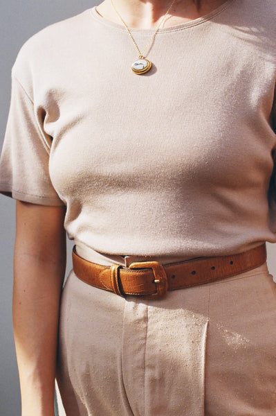 Vintage Taupe Short Sleeve Top