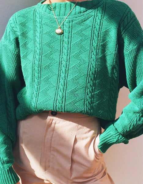 Vintage Emerald Cableknit Cotton Pullover