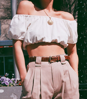 Na Nin Raw Silk Stella Crop Top / Available in Cream and Black