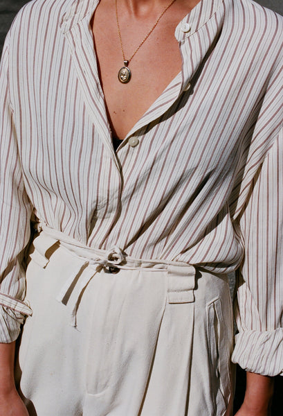 Vintage Thin Striped Button Up Blouse