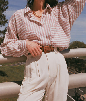 Na Nin Gwen Striped Gauze Relaxed Button Up