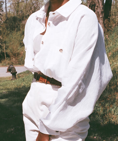 Na Nin Gwen Relaxed Linen Cotton Button Up / Available in White & Camel