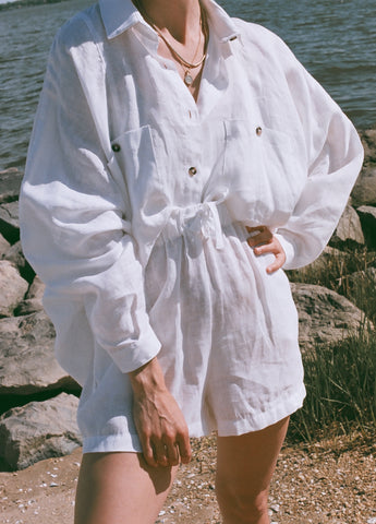 Na Nin Gwen White Linen Relaxed Button Up
