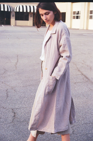 esby apparel baronne linen duster sky