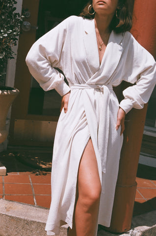 Na Nin Layla Raw Silk Wrap Dress / Available in Cream & Black