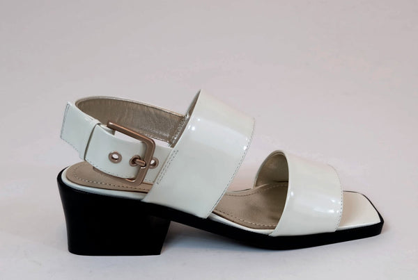 Suzanne Rae Welt Sole Sandal in White Spazzolato
