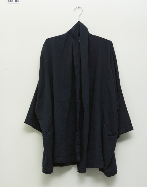ATELIER DELPHINE / Wrinkled Gauze Cotton Haori Coat in Darkest Navy