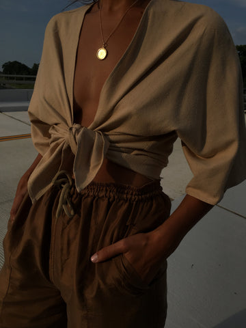 Na Nin Bobbie Raw Silk Tie top / Available in Sand