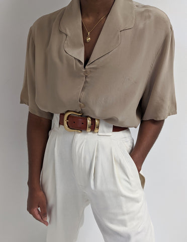 Vintage Taupe Collared Silk Short Sleeve Button up