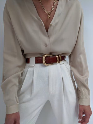 Vintage Calvin Klein Camel Silk Button Up