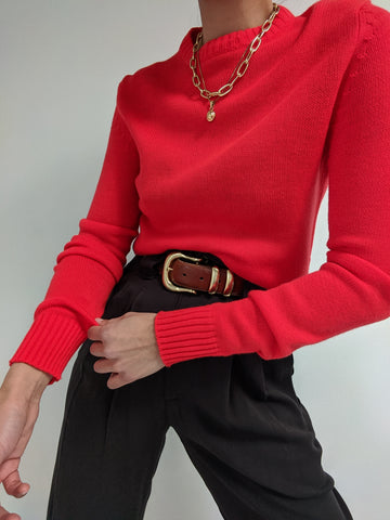 Vintage Bright Red Knit Pullover