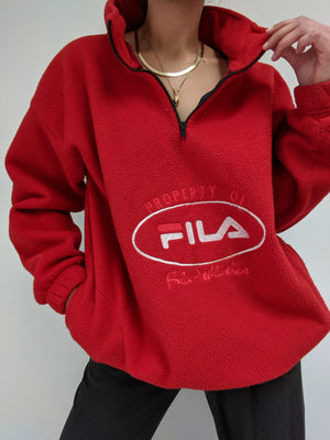 Vintage Cherry Red FILA Fleece Henley
