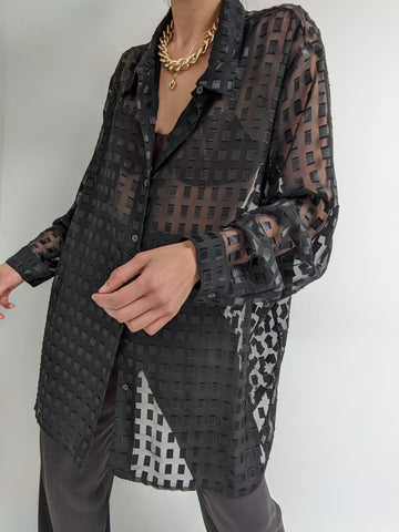 Vintage Onyx Sheer Grid Blouse