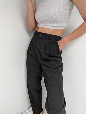 Vintage Jet Black High Rise Trousers