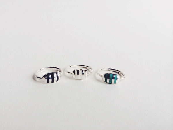 URSA MAJOR STRIPED CUSHION RING WITH TURQUOISE INLAY