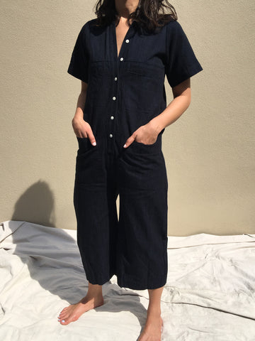 ilana kohn mabel coverall in deep indigo