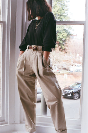 Na Nin Townes Cotton Trouser / Available in Khaki and Onyx