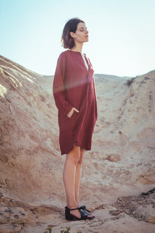 SUGAR CANDY MOUNTAIN CAPUCINE DRESS IN GREY AND BURGUNDY