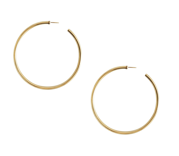 LAURA LOMBARDI XL CLASSIC HOOP EARRINGS / SILVER + GOLD