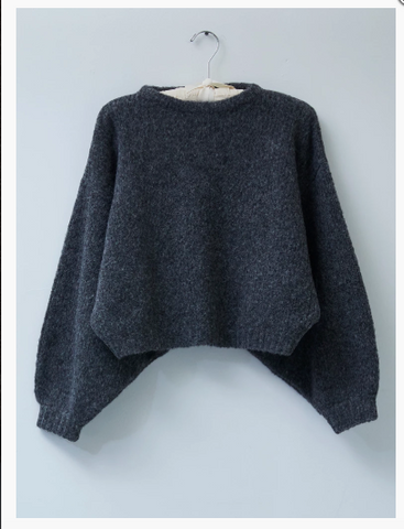 Atelier Delphine Balloon Sleeve Alpaca Sweater / Available in Charcoal & White