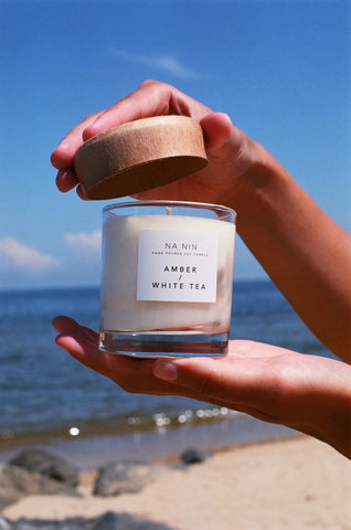 Amber & White Tea Candle / Available in Multiple Sizes