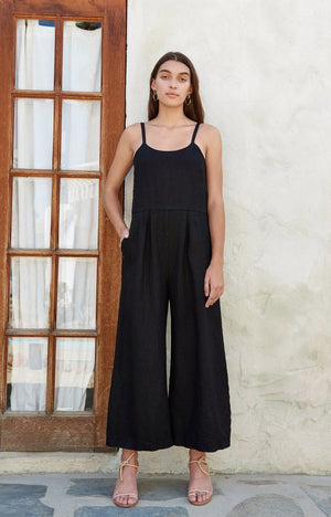 First Rite Dip Pantsuit / Black Linen