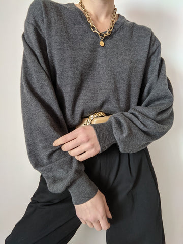 90s Charcoal Wool Knit Pullover