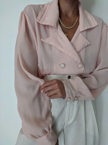 Vintage Ballet Pink Button Up
