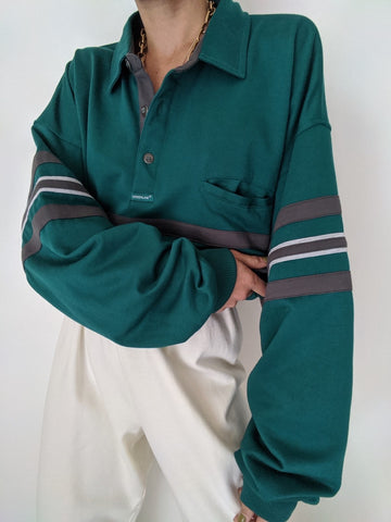 Vintage Emerald & Charcoal Striped Henley
